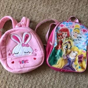 Other - Girls princess bunny backpack bag bundle pink